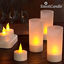 Bitblin Emoticandle Tea Lights Pack de 6 Velas Recargables con Soportes Decorativos y Cargador, Beige, 15 x 3 x 9.5 cm