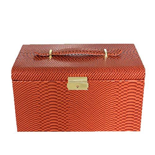 AZUO MS Schmuckschatulle Kreative Leder Schmuckschatulle Innen DREI Böden Zubehör Bilden Aufbewahrungsbox,1,27.5 * 17 * 15.5cm