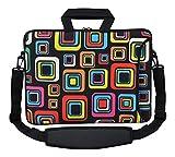 MySleeveDesign Laptoptasche Notebooktasche Umhängetasche Größe 15,6 Zoll und 17,3 Zoll - mit VERSCH. DESIGNS - Square Brown [17]