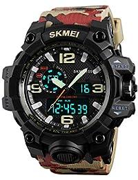 FeiWen Militar Tácticas Digitale Deportivo Relojes de Pulsera de Hombre y Niño 50M Impermeable Cuarzo Analógico LED Doble Tiempo Plástico…