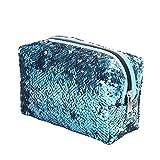 Fashion Damen Mädchen Kosmetiktasche mit Pailletten, großes Fassungsvermögen blau blau 16 x 8.5 x 15 cm