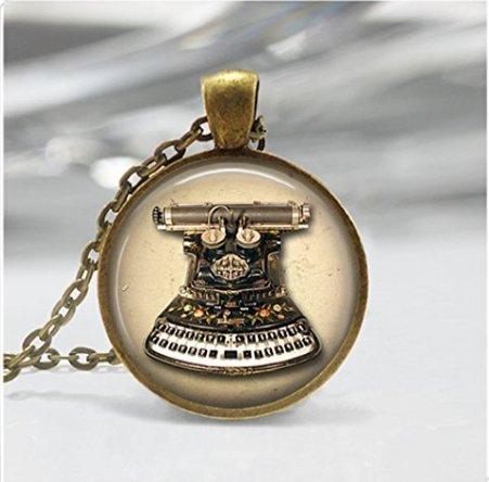 kette, Vintage Maschinen Schreibmaschine Schlüssel Art Anhänger ()