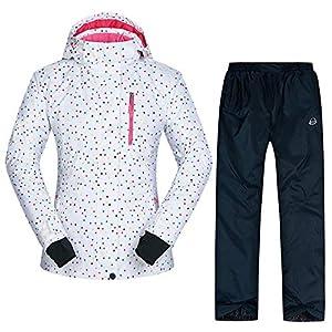 AOIUGE Skianzug, Frauen Ski Jacke und Hose Winddicht wasserdicht atmungsaktiv Wram Ski Kleidung Skifahren Mantel tragen Schnee Winter Frauen Jacke