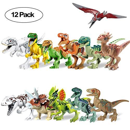 ZKO Dinosaurier Figuren Klein mit Beweglichem Kopf 12 Stück -Dino Bausteine Spiele Sets Kunststoff Klein Bein und Mund Dinosaurier Spielzeug für Kindergeburtstagsfeier Dekoration