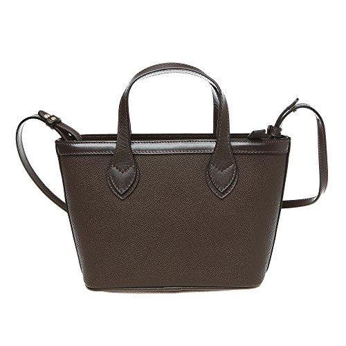 Trussardi Borsa Piccola Shopping Bag a Mano con Tracolla Vera Pelle Vitello in Dollaro �?24x16x8 Cm �?Mod. 76B112M Marrone Scuro