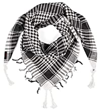 Shemagh Scarf for Men and Women - Black and White Desert Bandana Scarves - Fashion Cotton Neck Scarfs Face Covering
