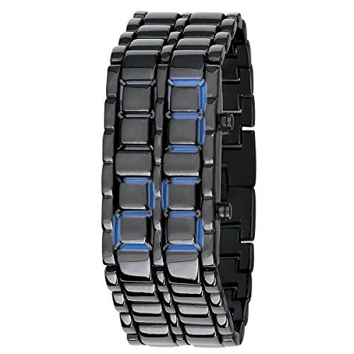 Orologio braccialetto LED Eglemtek - cinturino in Acciao - alta luminosità Ice Samurai - NERO- LED BLU
