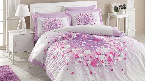 Ti Home April lila Bettbezug Set, 100% reine Baumwolle Double Größe, 4-teilig Luxus Bettwäsche Set