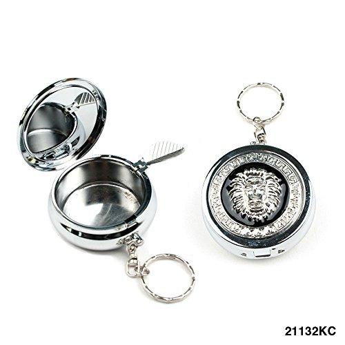 Taschen-Aschenbecher mit Löwen-Motiv und Zigarettenhalter, auch als Schlüsselanhänger zu verwenden (Aschenbecher Schlüsselanhänger Als)