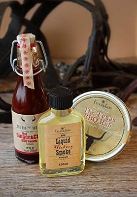 Geschenkset Sommerzeit: Liquid Smoke Rauchöl – Hot Ginger & Chili BBQ Soße – Texas BBQ Rub – Geschenkset, besonders für Männer - Geschenkset für den perfekten Grillabend - BBQ - Vatertagsgeschenke von Feuer & Glas