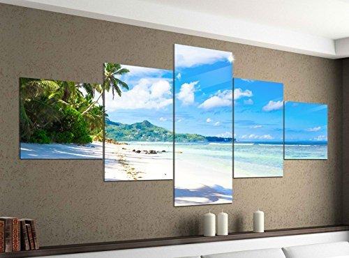 Leinwandbild 5 tlg. 200cmx100cm Landschaft Malediven Strand Meer Bilder Druck auf Leinwand Bild Kunstdruck mehrteilig Holz 9YA261, 5Tlg 200x100cm:5Tlg 200x100cm