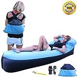 LAZY MATE transat à air gonflable. Transat à air large taille avec repose-tête confortable, Facile à gonfler, résistant, léger et flottant avec sac de transport, prise de sécurité et d'un ouvre-bouteille