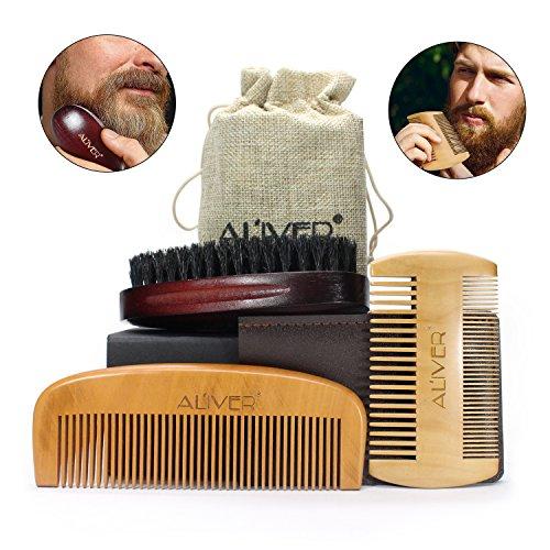 ALIVER Beard Grooming Kit for Men, Beard Brush with Boar Bristle and...