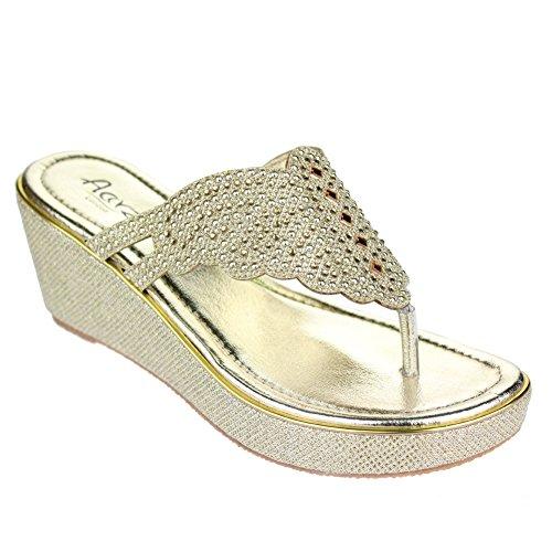 Femmes Dames Diamante Toe Post Glisser sur Talon compensé Soir Décontractée Fête Des sandales Chaussures Taille Or