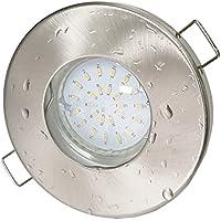 Trango 1er Set IP44 Bad Dusche Sauna LED Einbauleuchte Einbaustrahler Nickel Matt inkl. 1x LED Leuchtmittel warm-weiß TG6729IP-012B