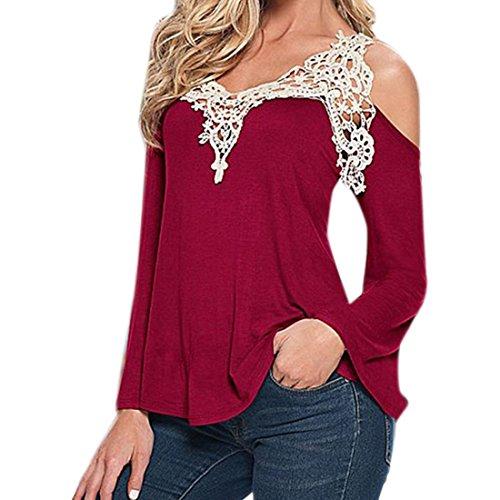 Womens Crochet Tops Off Epaule T-Shirt A Manches Longues De La Mode Sexy Chemisier vin rouge
