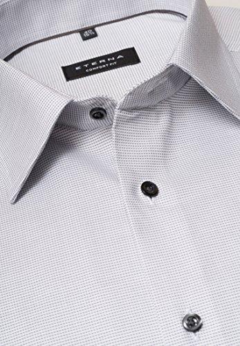 eterna Langarm Hemd Comfort Fit Natté Strukturiert Taupe/Weiß