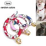 Ouken CHIRIMEN Cat Collar japanischer Stil PET Collar mit Lucy Cat Bell für Kittys und kleine Hunde-Farbe zufällig