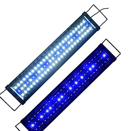 Aquarien Eco LED Aquarium Beleuchtung Aufsetzleuchte Blau Weiß Aquariumleuchte Lampe 60cm-80cm 15W (Aquarium Led-licht 60)