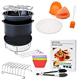 7 inch General Air Fryer Accessories 11 pcs with Recipe Cookbook, Compatible for Over 3.2 Litre Air Fryers, Philips, COSORI, Tower Airfryer, Deluxe Deep Fryer Accessories Set of 12