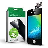 GIGA Fixxoo iPhone 4s Remplacement d'écran Kit complet LCD noir; avec écran tactile, vitre d'écran Retina, caméra et capteur de proximité - Installation guidée de réparation facile