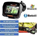 4,3 Zoll PKW Navigationsgerät Navigation Bluetooth,PKW,Motorrad,Wasserdicht,GPS,Kostenlose Kartenupdate,Neuste Europa Karten sowie Radarwarner,16GB Speicher
