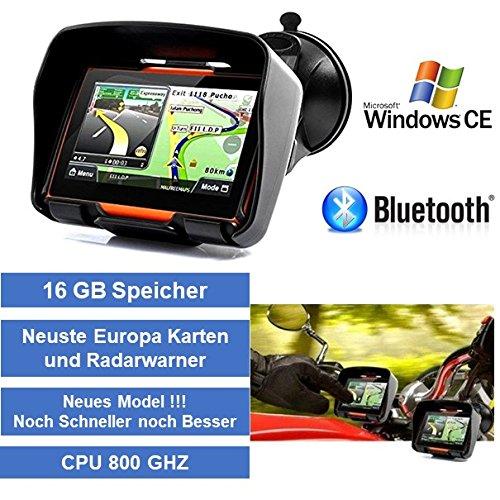 """4,3"""" Zoll PKW Navigationsgerät Navigation Bluetooth,PKW,Motorrad,Wasserdicht,GPS,Kostenlose Kartenupdate,Neuste Europa Karten sowie Radarwarner,16GB Speicher"""