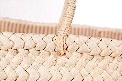 Borsa naturale della borsa della paglia della spalla del nappa delle lettere delle donne Donne semplici e alla moda tessute delle donne tessuto Tote semplice della spiaggia , red Red