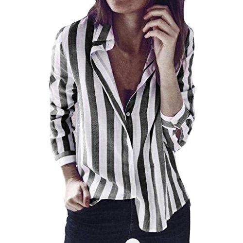 HARRYSTORE V-Ausschnitt Revers Gestreiftes Langärmeliges Hemd Mode Damen Gestreift Bedruckt Casual...