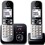 Panasonic KX-TG6822GB DECT draadloze telefoon met antwoordapparaat, 2 telefoons + antwoordapparaat, zwart [Geïmporteerd uit Duitsland] [geïmporteerde versie]