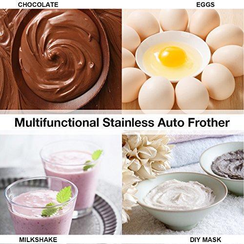 Skymore Macchina di schiuma ad alta efficienza per caffè / latte / uova con soffietto doppio a molla e testa tripla a sbalzo della molla, regalo perfetto (non include la batteria) - 4
