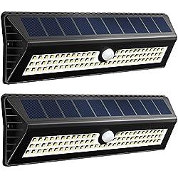 VicTsing 77 Leds 1000 Lumenes Focos Solares con Sensor de Movimiento Rango de 4-8m y Angulo de 120 Grados, Proporcionar hasta 12 Horas para Jardin, Terraza, Garaje, Camino de Entrada,Escaleras