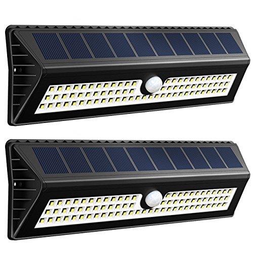 VICTSING 77 LEDs 1000 Lúmenes Focos Solares con Sensor de Movimiento, Rango de 4-8m y Angulo de 120º, Hasta 12 horas para Jardín, Terraza, Garaje