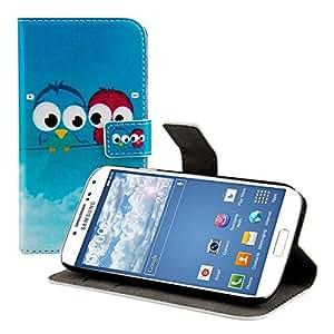 kwmobile Wallet Case Kunstlederhülle für Samsung Galaxy S4 - Cover Flip Tasche in Vögel Comic Design mit Kartenfach und Ständerfunktion in Blau Rot Hellblau