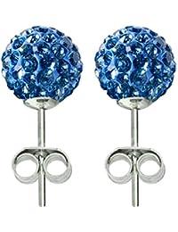Clou d'oreilles cristal, 8MM bling bling! © Bodytrend - argent 925 - boucles d'oreilles en argent faites avec plus de 70 cristaux