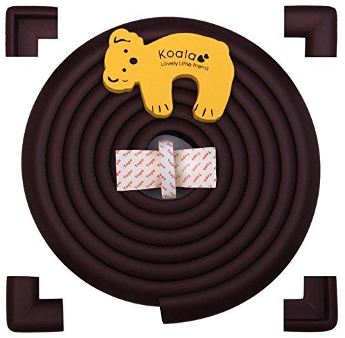 4m di Protezioni Antispigolo con 4x protezioni angolari, Fermaporta incluso / Protezioni in schiuma per la sicurezza dei vostri bambini / Cioccolato