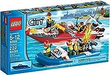 lego city 60005 jeu de construction le bateau des pompiers - Lego City Pompier
