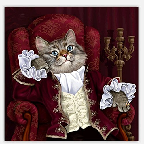 """DIY 5D Diamond Painting Kits Animals """" Mr Cat Is Lost In Thought """" Pattern Rhinestone Pasted Mosaic Numbers Embroidery Cross Stitching Art Kits Handcraft Mural Home Wall Decor"""