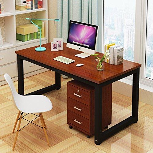 Mesa de Ordenador, Resistente Oficina Escritorio Estudio Escritorio, Moderno Simple Estilo Estación de Trabajo PC Mesa para Oficina en Casa (120x60x74cm, Teak)