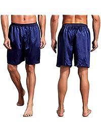 9b7fcc42a45b Reveryml Uomo Pantaloni Pigiama Men Silk Satin Pajama Sleepwear Homewear  Robes Pantaloncini Loungewear Intimo