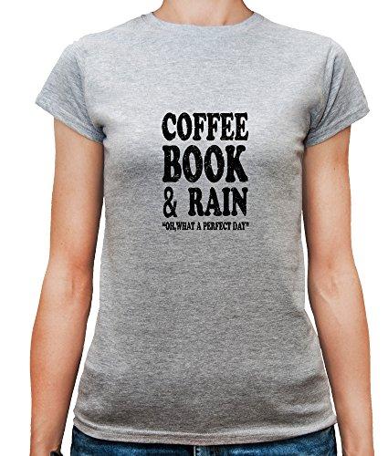 Mesdames T-Shirt avec Coffee Book and Rain Perfect Day Slogan Phrase imprimé. Gris