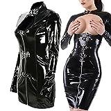 Frauen-reizvolles Lackleder-Korsett-Wäsche-Kostüm Catwoman Latex-Catsuit PVC-Bodysuit-Overall-Kleid Clubwear , black , one size