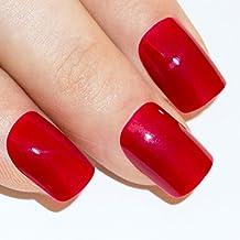 Bling Art Unghie Finte Manicure Francese Rosso Fuoco Copertura Totale Punte Medie - Fuoco Arte
