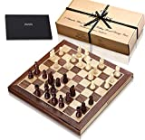 Jaques Chess set 15 Inch Walnut and Sycamore Inlaid Chess Board Complete with 3 inch Chess Pieces - Quality Chess For Over 150 Years