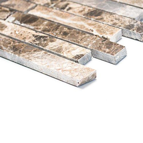 Brick-mosaik-fliesen-böden (Fliesen Mosaik Mosaikfliese Marmor Brick braun poliert Küche Boden 8mm Neu #289)