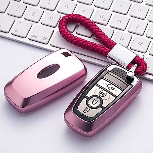 KAILLEET YY6 Für Ford Schlüsselanhänger Abdeckung Full Protection Schlüsselanhänger mit Schlüsselkette Kompatibel mit Keyless-Fernbedienung Smart Escort Edge Mondeo Ecosport Key Series (Smart Escort)