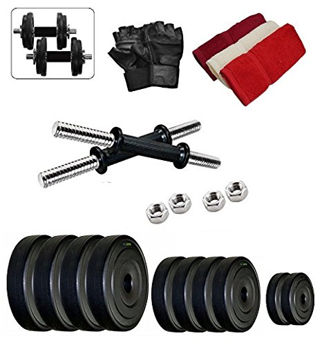 Body Maxx Pvc 20 Kg Adjustable Fitness Dumbells Set Home Gym With Hand Towel