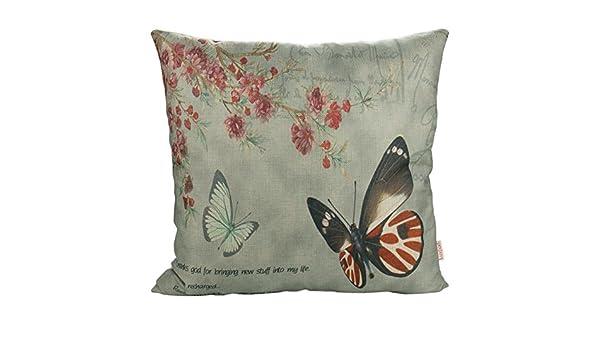 Luxbon Farfalle Fiore Federa per Cuscino in Contone Lino