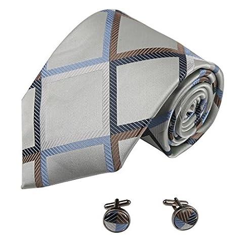 A2008 fonc¨¦ Green Sea ¨¤ carreaux marron bleu soie Cravates Boutons de manchette Set 2PT par Y&G