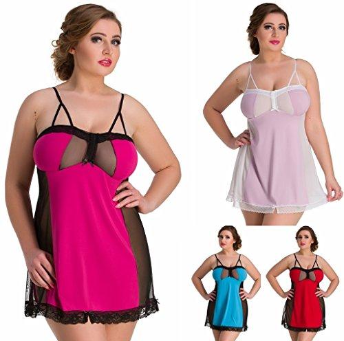 Nine X- féminines Nuisette, M-7XL chemise de nuit Plus La Taille Rose